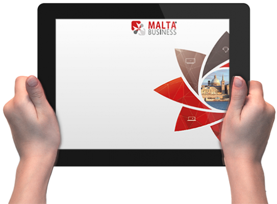 Malta Business - Agency holding-tablet Malta Business Agency - Malta